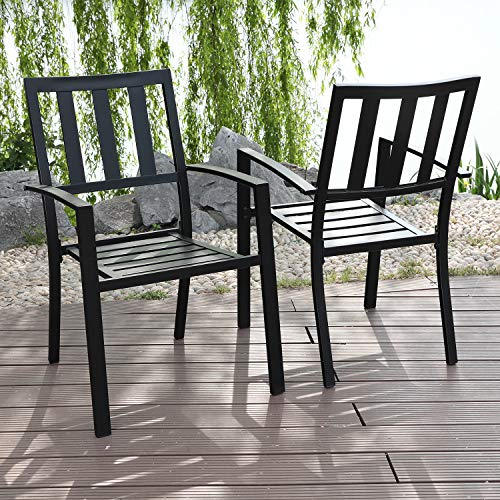 MFSTUDIO 2 Piece Patio Wrought Iron Dining Seating Chair - Supports 300 LBS,(Black)
