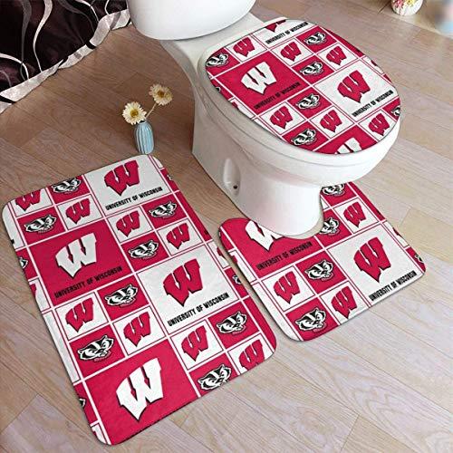 haoqianyanbaihuodian University-of-Uw-Wisconsin - Alfombra de 3 piezas antideslizante para baño, alfombrilla antideslizante para puerta de baño, tapa de bañera.