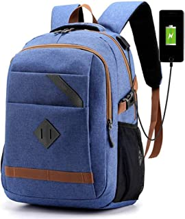 MDXJC Large-capacity Casual Computer Backpack with USB Charging, Multi-functional Anti-Theft Travel Backpack, Interface for Student Work Men Women-15.6-inch Laptop (Color : Light blue)