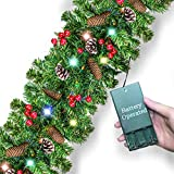 9 Foot by 10 Inch Christmas Garland 50 LED Light Xmas Wreaths Garland with Pine Cones, Red Berries, Battery Operated for Front Door Mantle/Stairs/Fireplace Decor Christmas Decorations