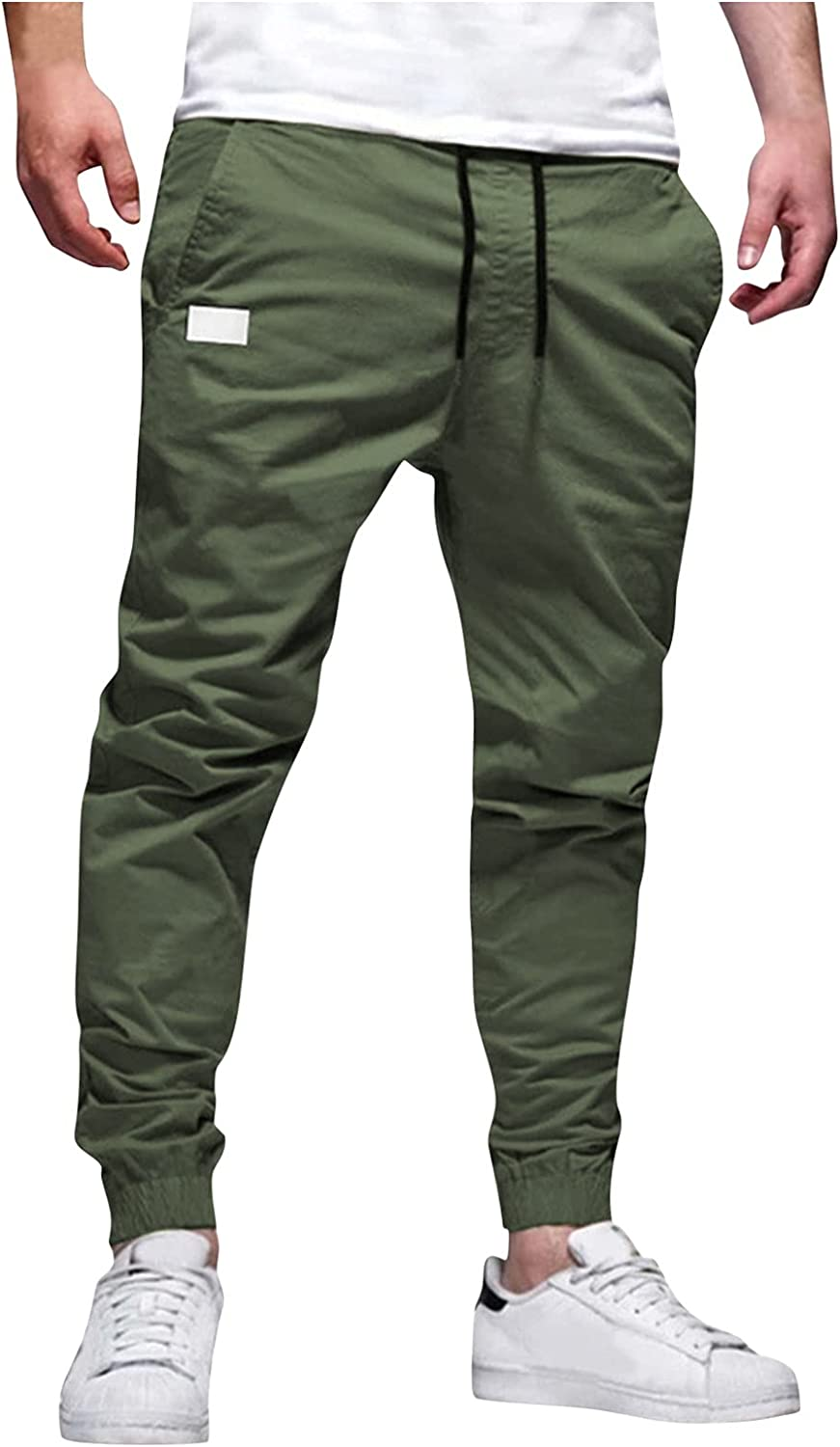 Burband Mens Jogger Pants Casual Outdoor Hiking Ripstop Tactical Cargo Pants Slim Fit Tapered Pencil Pants