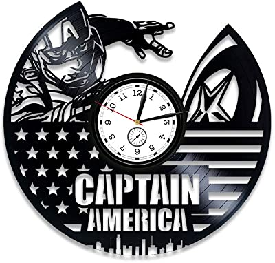 Kovides Capitan America Vinyl Record Clock Avengers Clock Vinyl Wall Clock Capitan America Avengers Gift for Kids Gift Marvel Comics Clock Capitan America Wall Clock Large 12 inch Clock
