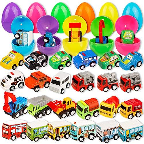 Brwoynn 24 Pcs Prefilled Easter Eggs with Mini Pull Back Vehicles for Easter Basket Stuffers Easter Egg Hunt Easter Party Favors