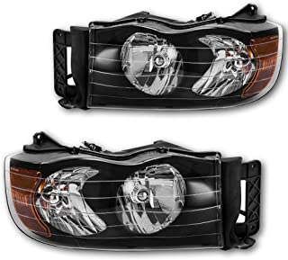 JSBOYAT Headlight Assembly Compatible Replacement for 2002-2005 Dodge Ram 1500 2500 3500 Pickup Sealed Headlamps with Black Housing Driver and Passenger Side Pair