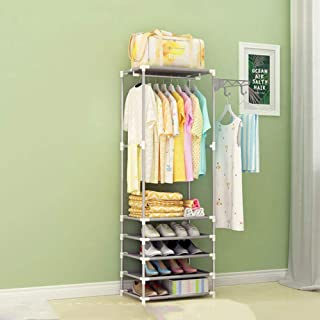 XYBB Armario Dormitorio Simple Metal Hierro Piso De Pie Ropa Colgante Estantes Muebles De Dormitorio 175 * 36 * 55 * 18cm Plata