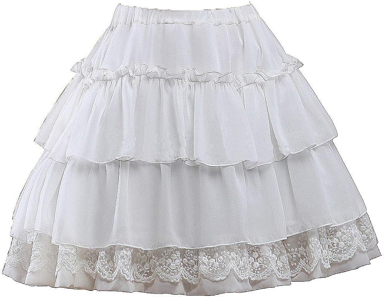 Antaina White Cotton Victorian Floral Lace Ruffled Layered Lolita Tutu Skirt