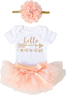 OoSweetCharlotteoO Newborn Baby Girl Coming Home Outfit Hello I am New here Bodysuits 3pcs (Newborn)