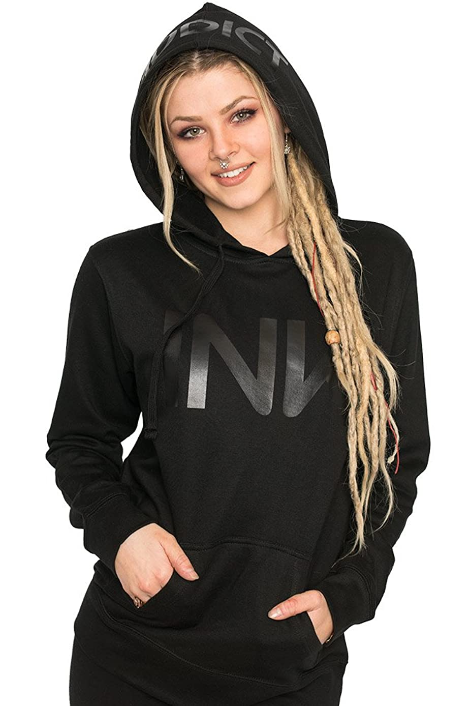 Ink Addict InkAddict Women's Black Pullover Hoodie - Tattoo Inspired Logo Lightweight Pullover for Women
