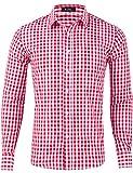 XI PENG Men's Slim Fit Plaid Checkered Gingham Long Sleeve Dress Shirts (Red Tartan, X-Large)
