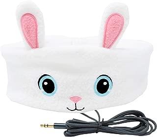 CozyPhones Kids Headphones Volume Limited with Ultra-Thin Speakers & Super Soft Fleece Headband - Perfect Toddlers & Children's Earphones for Home, School & Travel - White Bunny