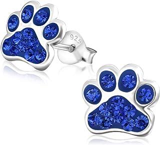 Laimons Kids Orecchini a pressione gioielli per bambini Zampa di cane colorato Con brillantini Argento Sterling 925