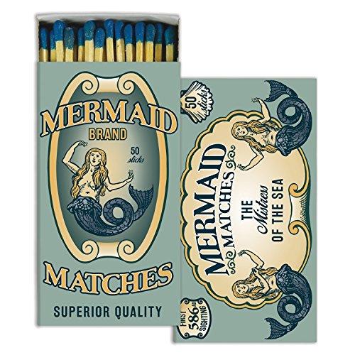 Retro Aqua Mermaid Matches | Set 10 Art Deco Turquoise Coastal