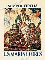 1943年Semper Fidelis - 米海兵隊ヴィンテージスタイルWW 2ポスター - 18 x 24 [並行輸入品]