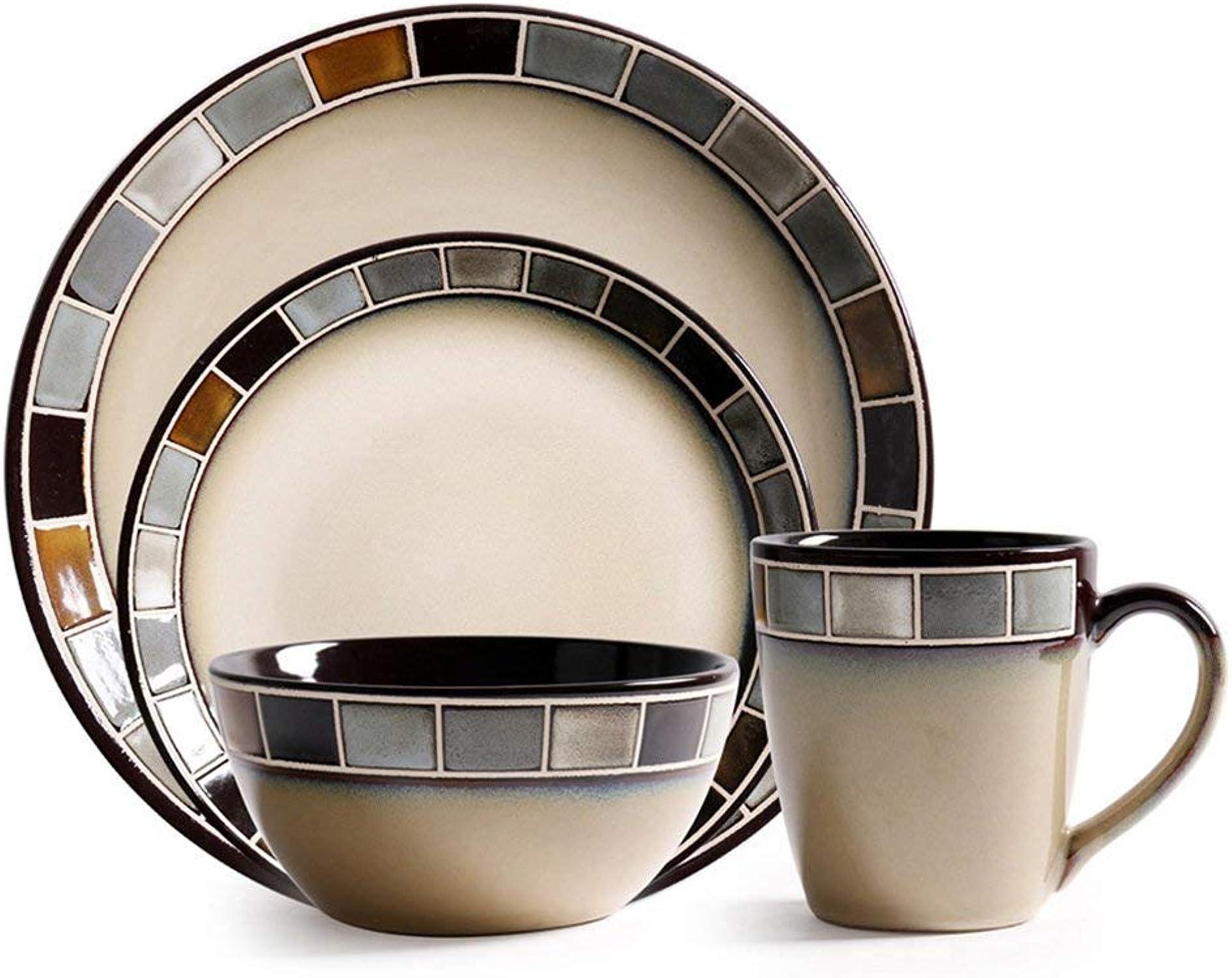 Vaisselle En Céramique, Maison gris Créatif Grille Bol Coupe Ensemble Plaque Plaque teak Maison Tasse Salade Bol Approprié Pour Restaurant Cuisine Pull Bol Fruits Snack Bol Desserts (Couleur   Suit)