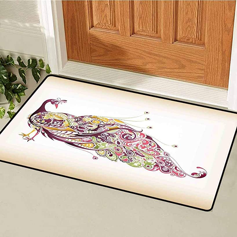 Gloria?Johnson Peacock Front Door mat Carpet Abstract Bird with Colorful Floral Artistic Feather Design Machine Washable Door mat W23.6 x L35.4 Inch Dried Rose Earth Yellow Pale Green