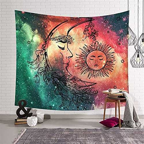 Tapiz de Mandala indio para colgar en la pared, tapiz de tarjeta de Tarot de sol y luna, tapiz psicodélico, tapiz de tela de pared A5 180x200cm