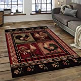 Champion Rugs Wildlife Nature Rustic Lodge Country Chicken Roosters Kitchen Carpet Woven Area Rug (2' X 3')