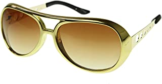 Large Elvis King of Rock Rock & Roll TCB Aviator Sunglasses (Gold)