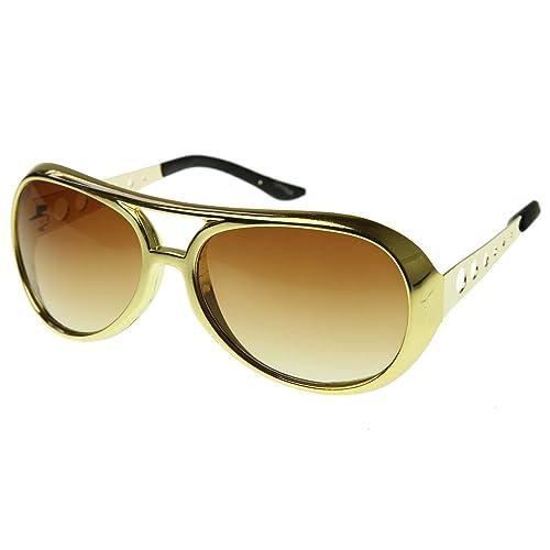 1c3c9e9b109 Large Elvis King of Rock Rock   Roll TCB Aviator Sunglasses (Gold)