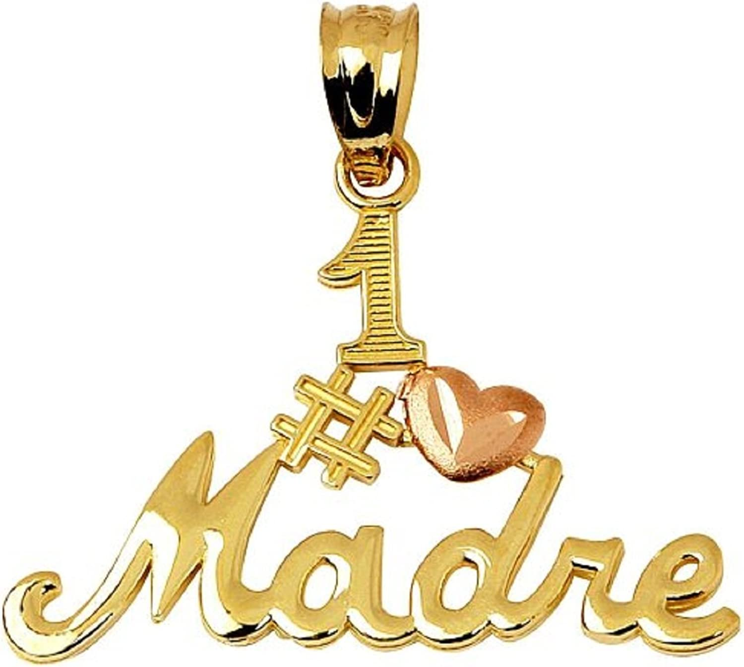 14k TwoTone Yellow and pink gold Madre Number Uno Mom Necklace Pendant