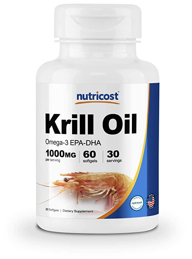 本物後悔傾向がありますNutricost オキアミ油ソフトジェル 1000mg, 60 液体ソフトジェル-オメガ 3 EPA-DHA