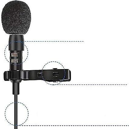 Amazon Com Depusheng 4 8 Ft Mini Micrófono Portátil Condensador Clip Solapa Lavalier Micrófono Con Cable Mikrofo Microfon Para Teléfono Portátil Musical Instruments