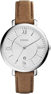 Fossil Womens 36mm Silvertone Jacqueline Brown Leather Strap Watch