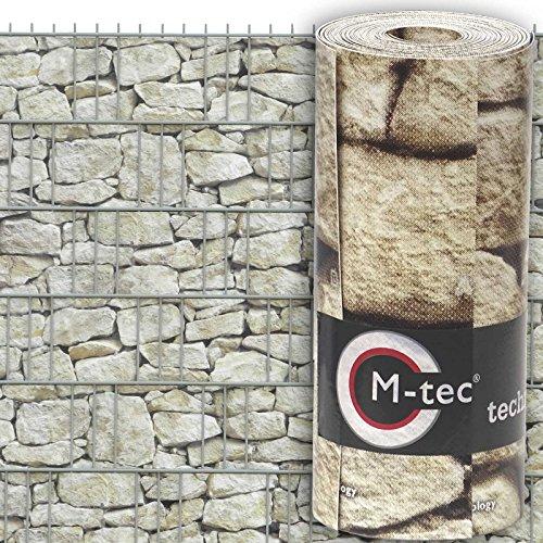 Sichtschutzstreifen mit Motiv/M-tec Print® / PVC/Hellen Sandstein Toscana für 3 Reihen im Zaunfeld inkl. 6 Klemmschienen - SIE KAUFEN Hier DIREKT BEIM Hersteller -