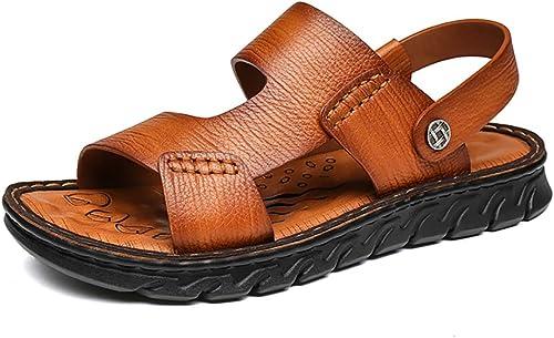 LXJL Hommes d'été en Cuir Décontracté Chaussures Plage Chaussures en Cuir Sandales Soft Floor Massage antidérapant Pantoufles,jaune,39