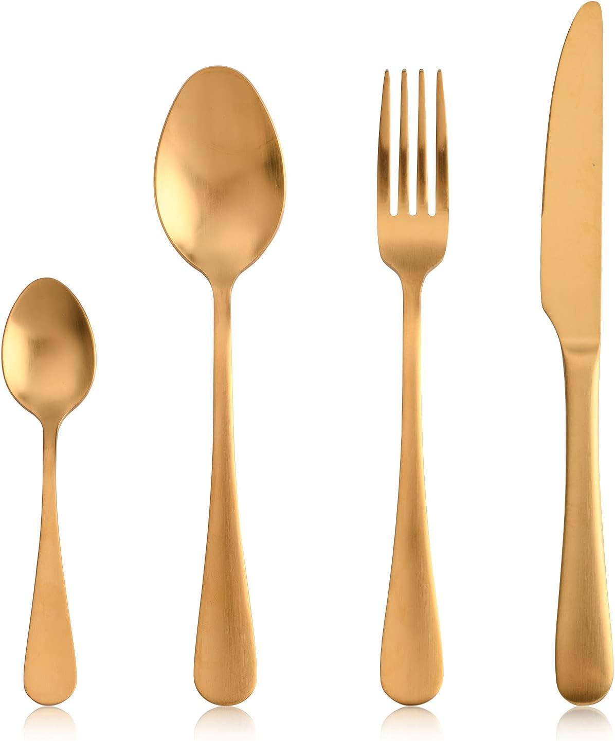 Sharecook - Juego de cubiertos de titanio chapado en oro mate, 24 piezas, cubiertos de acero inoxidable, ideal para el hogar y el restaurante, cubiertos de mesa para 6 lavaplatos, color dorado mate