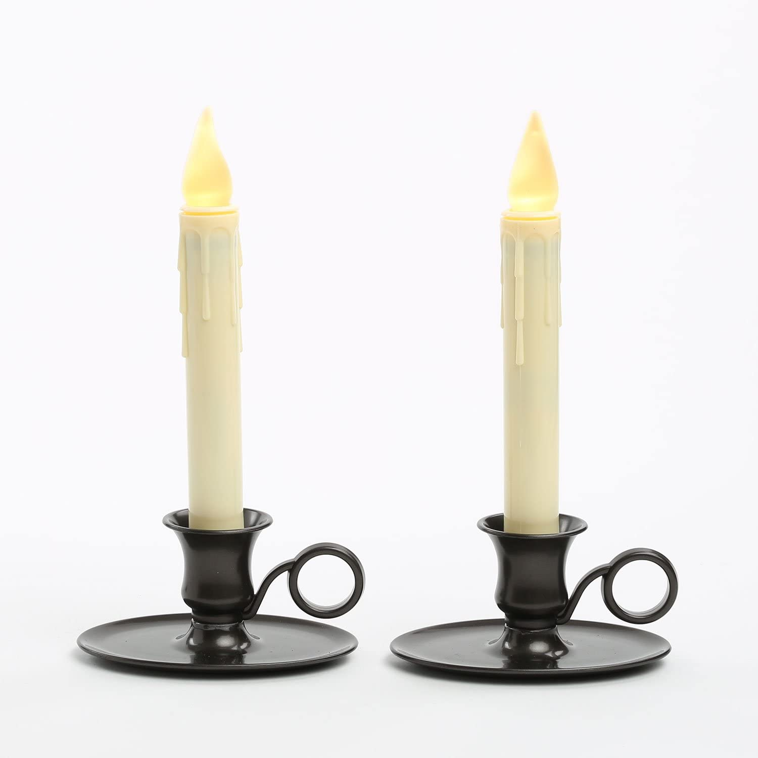 Battery Operated Window Candles - Set of 2, Ivory Taper Candlesticks, Oiled Bronze Style Chamberstick Holders, Warm White LED Lights, Automatic Timer, Christmas Decorations - Batteries Included