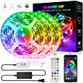 LED Strip Lights, 39.4ft Color Changing Lights Strip Music Sync Bluetooth App Remote Control 5050 RGB LEDs Light with Built-in Mic Smart LED Rope Lights for Bedroom Room TV Party DIY Decoration