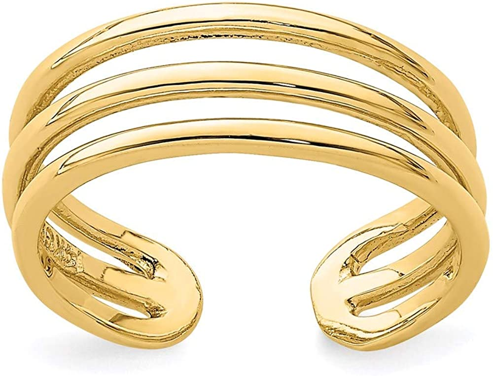 14K Yellow Gold Polished 3 Row Toe Ring