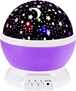 Toys for 2-7 Year Old Girls,Baby Night Light with Projector 360 Degree Rotation, 4 LED Bulbs 9 Light Color Changing USB Ca...