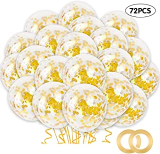 RUBFAC 72pcs Gold Confetti Balloons with Gold Paper Confetti Dots, 12 Inch Latex Party Balloons, Gold Glitter Balloons, for Parties, Birthdays, Weddings, Decorations