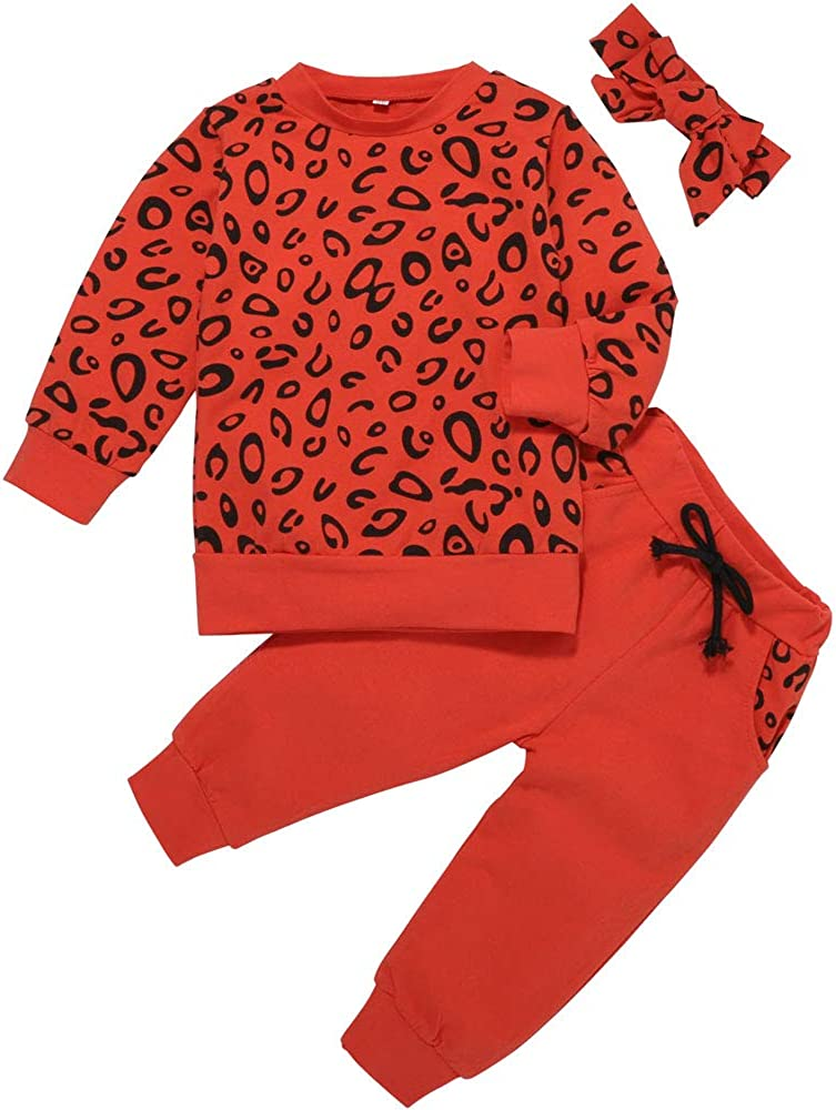 Toddler boy Girl Clothes Long Sleeve Hoodies+Floral Graphic Pants+Headband 3PCS Infant Outfits Fall Winter Suit