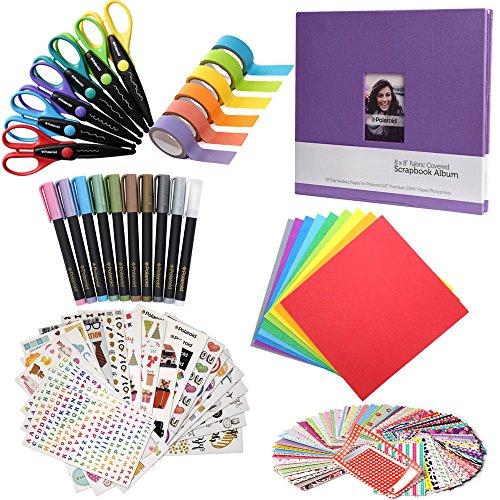Scrapbook Elite Colorful Bundle - 8x8 Scrapbook + 100 Sticker Frames + 10 Metallic Markers + 6 Scissors + Color Paper + Washi Tape for Kodak Mini Instant Printer Pictures