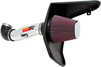 K&N Cold Air Intake Kit with Washable Air Filter: 2012-2015 Chevy Camaro 3.6L V6, Polished Metal Finish with Red Oiled Filter, 69-4523TP