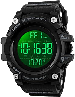 SKMEI Digital Watch for Men, Waterproof Military Watch with LED Backlight Chronograph Alarm, Black Big Face Sports Wrist W...