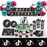 Veeyiki decoración de globos de cumpleaños de t1k t0k- pancarta,plato,taza,servilleta,mantel,cuchara,tenedor,cuchillo,globo de látex,adornos para magdalenas y pasteles