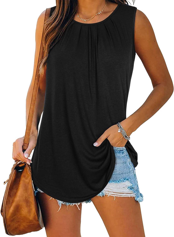 KIKIBERRY Womens Sleeveless Tank Tops Lightweight Ruffle Casual Loose Tunic Blouse Shirt