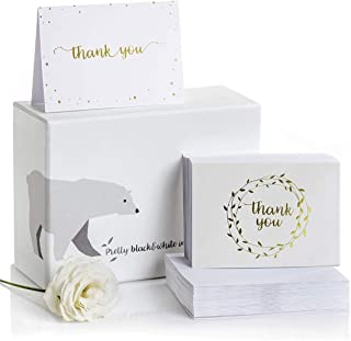 Thank You Cards–2 Designs of Blank Thank You Notes and Self-Seal Envelopes–Stationary Set to Give Thanks for Wedding, Bridal Shower, Professional, Any Occasion by Alice & Ben (Gold, 100-Pack)