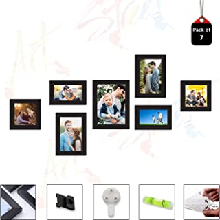 Art Street Set of 7 Individual Black Wall Photo Frames Wall Decor Free Hanging Accessories Included ||Mix Size|| 3 Units 4...