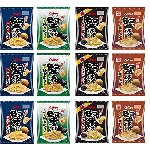 カルビー 堅あげポテト 詰め合わせ 食べ比べ 4種 セット九州しょうゆ ブラックペッパー うすしお味 焼きのり味 (計12袋)