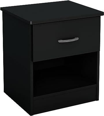 URBNLIVING - Mesita de Noche con cajón, Negro, 1 Drawer ...