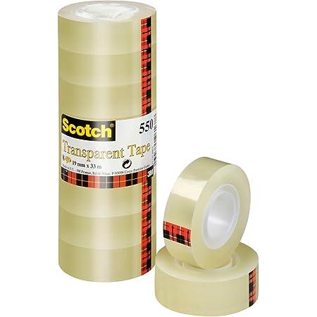 Scotch Ruban Adhésif Transparent 550 - 8 Rouleaux - 19mm x 33m - Ruban Adhésif Transparent à Usage Général pour l'Ecole, la Maison et le Bureau