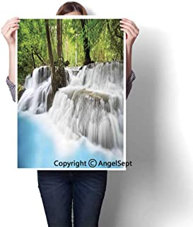 Light Blue Green White Modern Canvas Painting Wall Art,Mystic Erawan Waterfall in Forest Foggy Over Pool Tropical Jungle(20