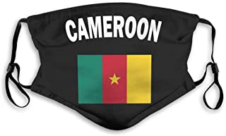 IuER90@E Cameroon Flag-1 Pm2.5 Face Bandana Men Women 5-Layer Activated Carbon Filters Breathable Scarf Shield