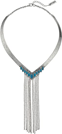 Steve Madden - V-Shaped Collar w/ Turquoise Stone and Dangling Chain Tassel Necklace