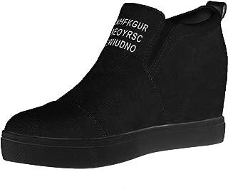 Women's Hidden Wedge Sneakers High Heel Slip On Platform Loafers
